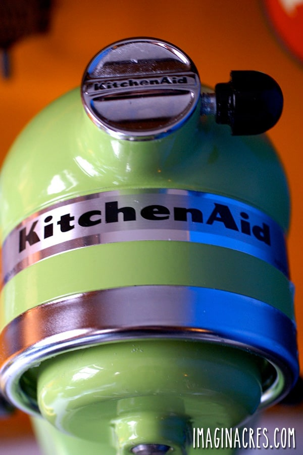 closeup on a green Kitchen Aid mixer