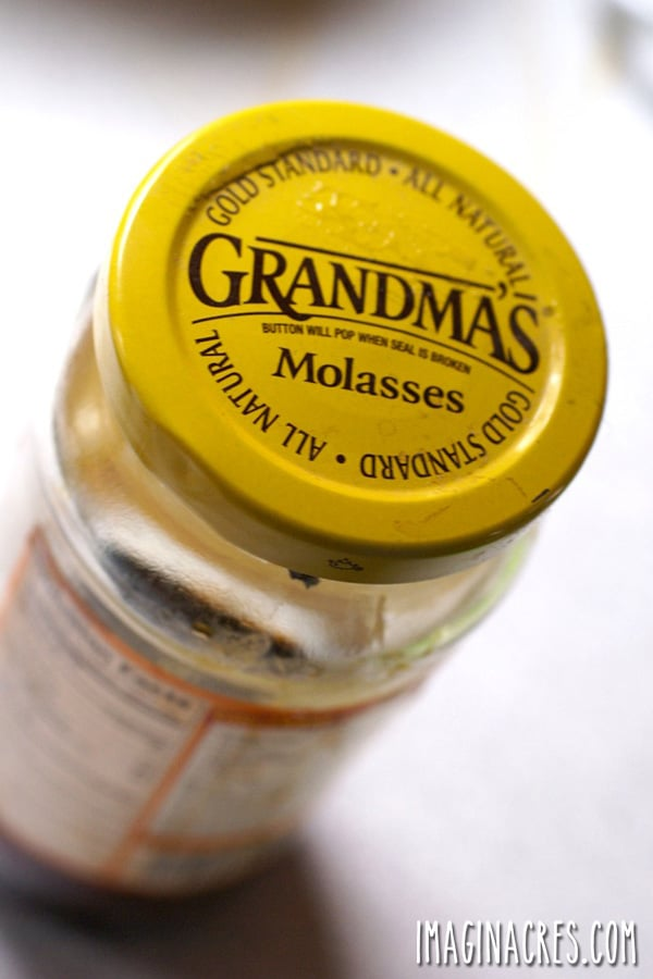 closeup of Grandma's Molasses jar