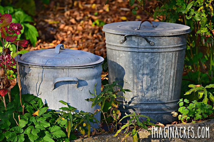 steel trash cans to prevent rats from getting to the chicken food