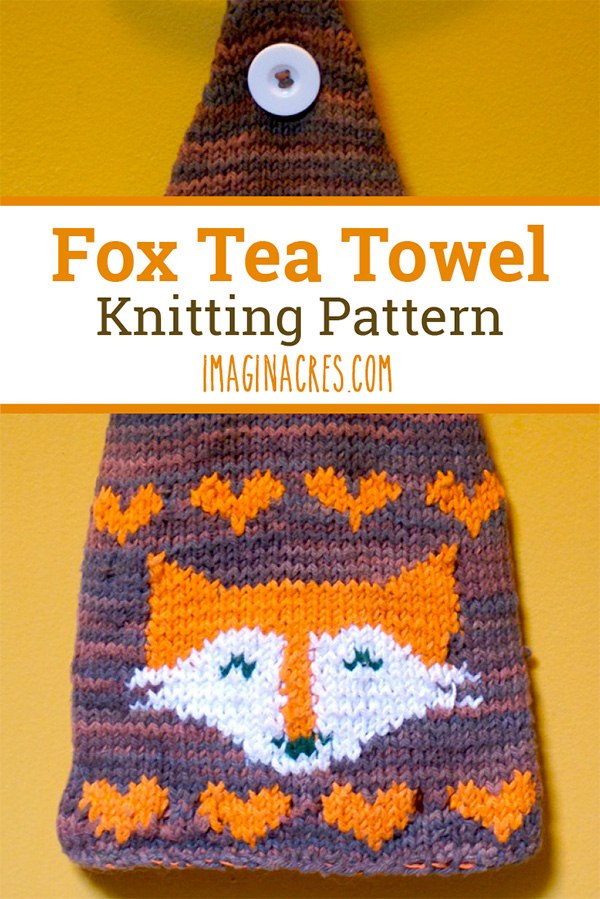 Accent your kitchen with this knitted fox tea towel. This tea towel will brighten any home, and since it's made from cotton, it's functional too!