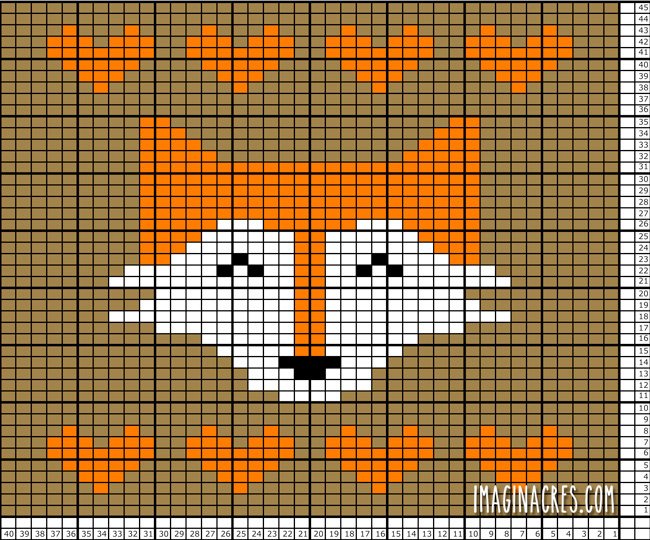 knitting pattern of a fox with hearts