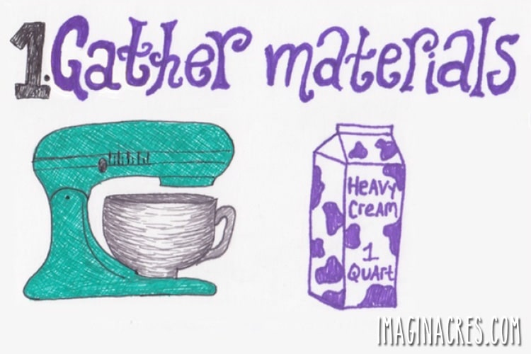 illustration of a mixer and a quart of cream
