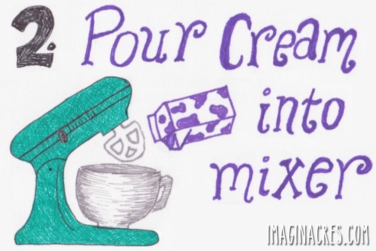 illustration showing cream poured into mixing bowl