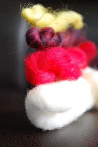 These are all of the colors of wool used for this needle felted chicken. It's amazing what you can do with so few materials!