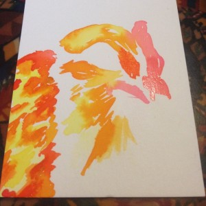 Laying down the very first layers of watercolor for this chicken
