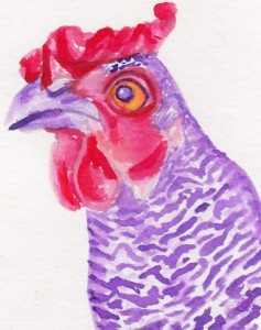 I've been having a great time experimenting with watercolors and creating fun portraits of our chickens