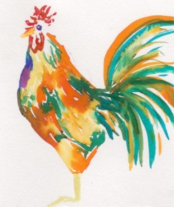 This freestyle rooster watercolor was done in about three minutes but I love how it turned out!