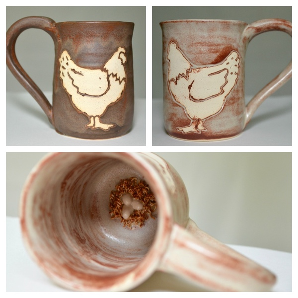 Chicken lovers unite! This adorable chicken mug is so fun you'll be showing it off to all your chicken keeping friends! The best part?! This mug has an Easter egg! Literally! Nestled at the bottom of the mug is a tiny hidden nest full of eggs, that is revealed as you drink your favorite beverage.