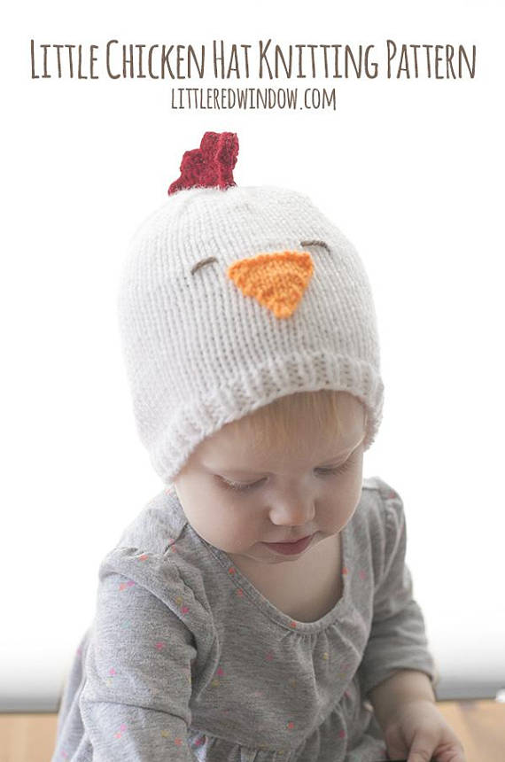 This little chicken hat knitting pattern is just the cutest thing ever!