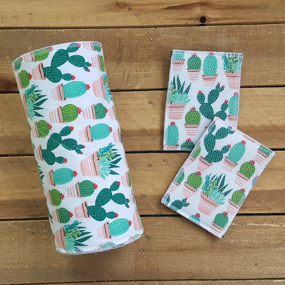 These cactus print unpaper towels add flair and sustainability to your kitchen!