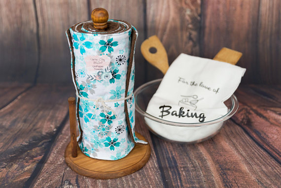 These flower print unpaper towels add flair and sustainability to your kitchen!