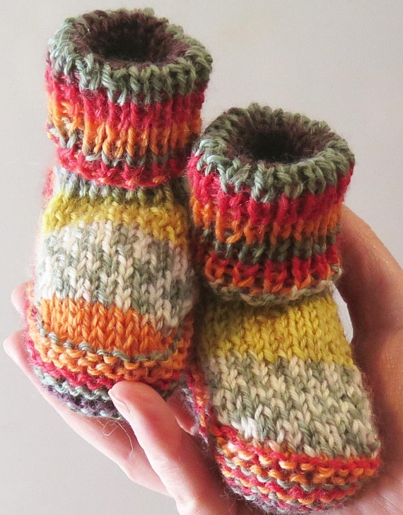 This sweet baby booties have a fun mix of color and pattern!