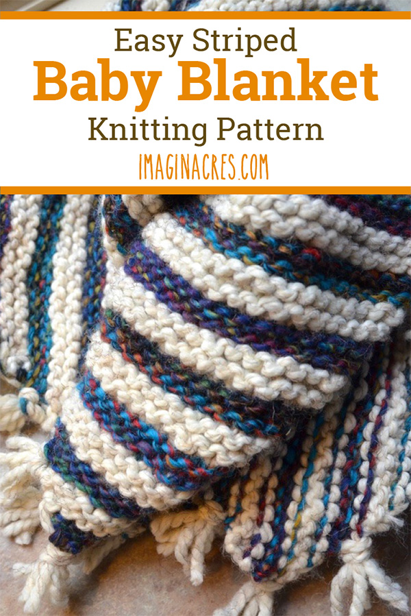 This striped baby blanket knitting pattern is just what you need to make a quick and adorable gift for your loved one. This is a simple project, perfect for a beginner knitter.