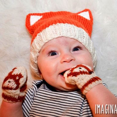 Baby Fox Hat and Matching Mittens Knitting Pattern