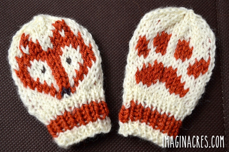 knitted fox mittens on a dark background