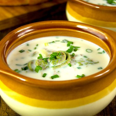 Creamy Fiddlehead Soup with Chives